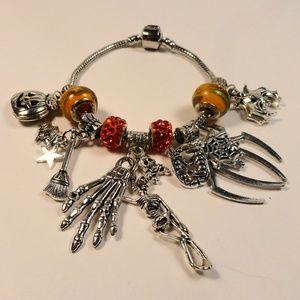 Jewelry - Orange Skull Spider Bat Star Witch charm bracelet